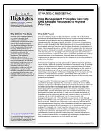 Risk Management Principles Can Help Dhs ... by General Accounting Office