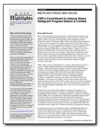 Cms's Commitment to Helping States Safeg... by General Accounting Office
