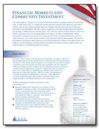 Financial Markets and Community Investme... by General Accounting Office