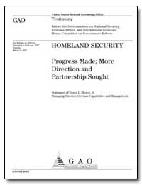 Homeland Security Progress Made; More Di... by Hinton, Henry L., Jr.