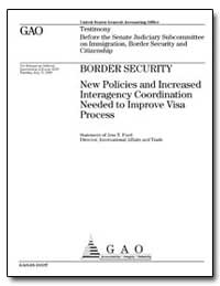 Border Security New Policies and Increas... by Ford, Jess T.
