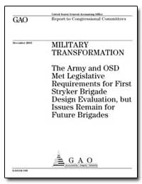 Military Transformation the Army and Osd... by General Accounting Office