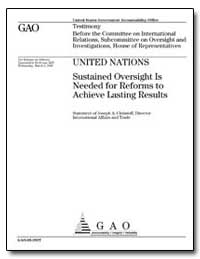 United Nations Sustained Oversight Is Ne... by Christoff, Joseph A., Director
