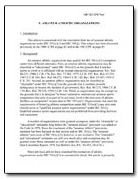 E. Amateur Athletic Organizations by United States Department of the Treasury
