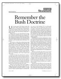Remember the Bush Doctrine by Kagan, Robert