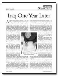 Iraq One Year Later by Kagan, Robert