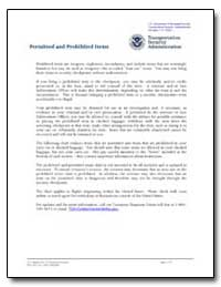Permitted and Prohibited Items by Transportation Security Administration