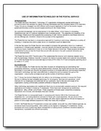 Use of Information Technology in the Pos... by United States Department of the Treasury