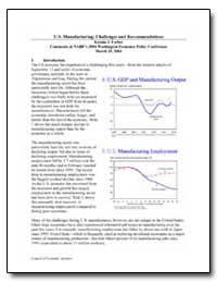 U.S. Manufacturing : Challenges and Reco... by Forbes, Kristin J.