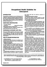 Occupational Health Guideline for Chloro... by Department of Health and Human Services