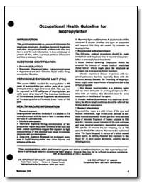Occupational Health Guideline for Lsopro... by Department of Health and Human Services