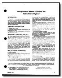 Occupational Health Guideline for Tetrac... by Department of Health and Human Services