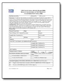 Cdc Institutional Review Board (Irb) Req... by Department of Health and Human Services