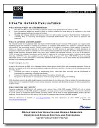 Health Hazard Evaluations by Department of Health and Human Services