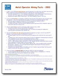 Metal Operator Mining Facts – 2003 by Department of Health and Human Services