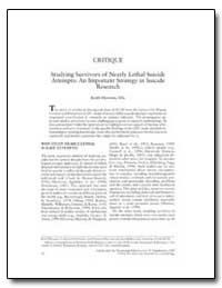Studying Survivors of Nearly Lethal Suic... by Hawton, Keith