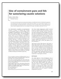 Use of Containment Pans and Lids for Aut... by Brown, Stanley A.
