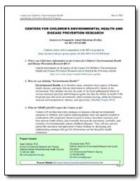 Centers for Children's Environmental Hea... by Department of Health and Human Services