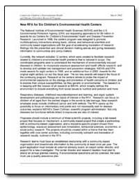 New Rfa for Six Children's Environmental... by Department of Health and Human Services