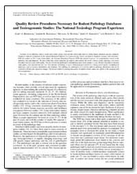 Quality Review Procedures Necessary for ... by Boorman, Gary A.