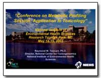 Conference on Metabolic Profiling Sessio... by Tennant, Raymond W., Dr.