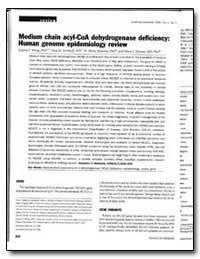 Medium Chain Acyl-Coa Dehydrogenase Defi... by Wang, Sophia S., Ph. D.