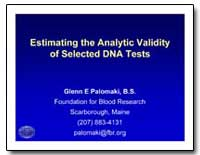 Estimating the Analytic Validity of Sele... by Palomaki, Glenn E.