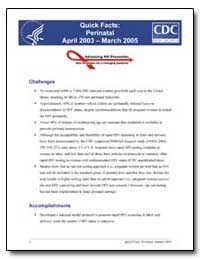 Quick Facts : April 2003 –March 2005 by Department of Health and Human Services