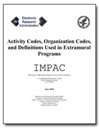 Activity Codes, Organization Codes, And ... by Department of Health and Human Services