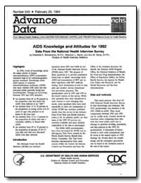 Aids Knowledge and Attitudes for 1992 : ... by Schoenborn, Charlotte A., M. P. H.