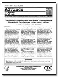 Characteristics of Elderly Men and Women... by Dey, Achintya N., M. A.