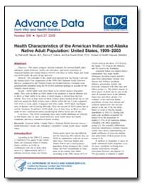 Health Characteristics of the American I... by Barnes, Patricia M.