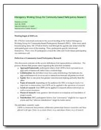 Interagency Working Group for Community-... by Department of Health and Human Services