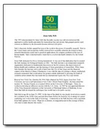 50Th Anniversary of the Polio Vaccine by Salk, Jonas, M. D.