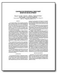 Continuous Respirable Mine Dust Monitor ... by Cantrell, Bruce K.