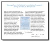Message from the National Lmmunization P... by Cochi, Stephen L., Dr.