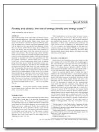 Poverty and Obesity : The Role of Energy... by Drewnowski, Adam, Ph. D.