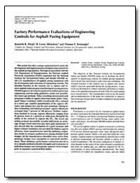 Factory Performance Evaluations of Engin... by Mead, Kenneth R.