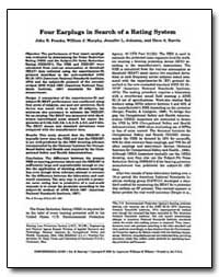 Four Earplugs in Search of a Rating Syst... by Franks, John R.