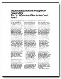 Training Future Mine Emergency Responder... by Brnich, Michael J., Jr.