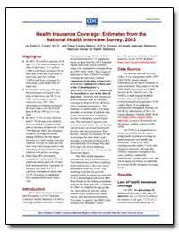 Health Insurance Coverage : Estimates fr... by Cohen, Robin A.