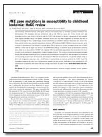 Hfe Gene Mutations in Susceptibility to ... by Dorak, M. Tevfik, M. D.