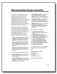 Maintainability Design Checklist by Department of Health and Human Services