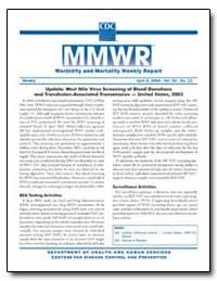 Update : West Nile Virus Screening of Bl... by Gerberding, Julie Louise, M. D., M. P. H.