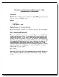 Miscellaneous Pain Question Section (Jun... by Department of Health and Human Services