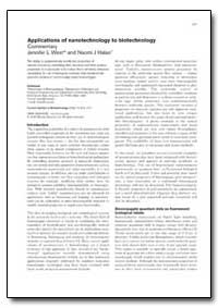Applications of Nanotechnology to Biotec... by West, Jennifer L.