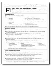 Do I Need Any Vaccinations Today? by Department of Health and Human Services