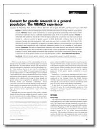 Consent for Genetic Research in a Genera... by Mcquillan, Geraldine M., Ph. D.