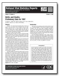 Births and Deaths : Preliminary Data for... by Ventura, Stephanie J., M. A.