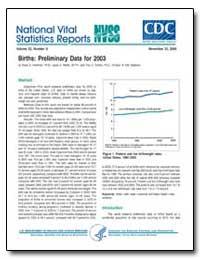 Births : Preliminary Data for 2003 by Hamilton, Brady E., Ph. D.